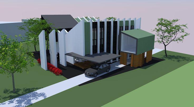 New villa in Aerdenhout, exterior in white stucco, green copper and dark hardwood.