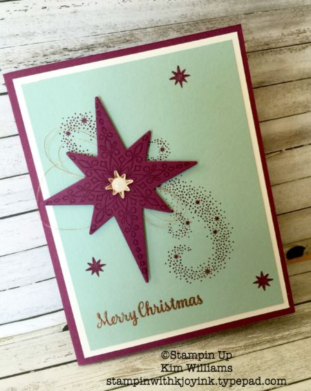 Stampin Up Star of Light stamp set. New Stampin Up Holiday Catalog 2016. Kim Williams, stampinwithkjoyink.typepad.com. Pink Pineapple Paper Crafts. Starlight thinlits and copper foil as well as copper emboss powder and copper thread go well with the colors on this card. I love this easy card idea for Christmas cards. sta
