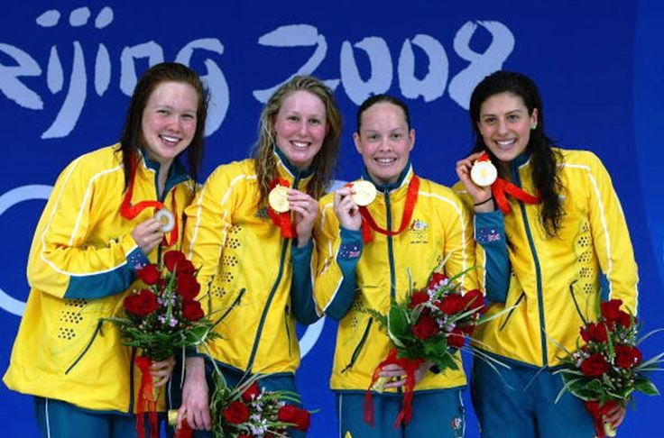 Australia's gold medal in the 4 x 200 metres women's freestyle relay in world record time at the 2008 Beijing Olympics - Stephanie Rice, Bronte Barratt, Kylie Palmer, Linda Mackenzie