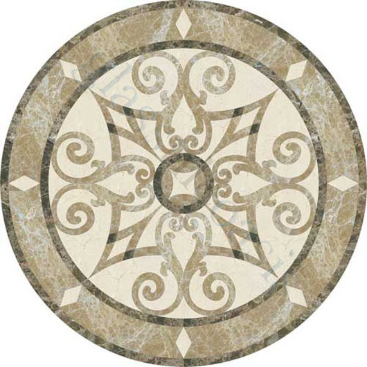 Foyer flooring - Jet Stone Corporation  Medallion Series, Medallion, Crema Marfil, Emperador Dark, Emperador Light, Polished, Cream/Beige, Stone
