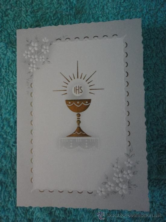 TARJETA INVITACION PRIMERA COMUNION. SANTO CALIZ. 1971. KRUGER ALEMANIA. 10,5 X 7,5 cm cerrado