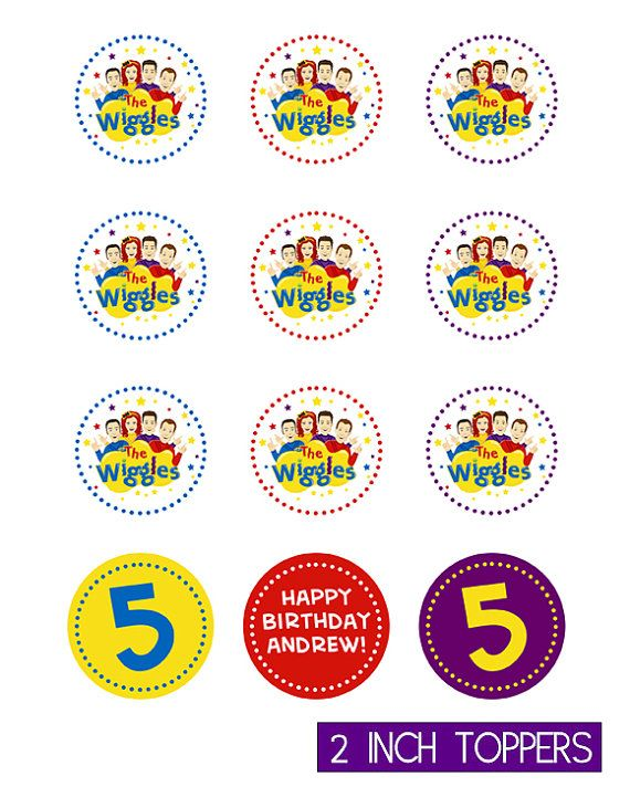 The New Wiggles 2 Inch Cupcake Toppers / Favor by instantparty, $5.00