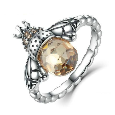 Queen Bee Ring - This gorgeous ring is sterling silver with an orange cubic zirconia body. It's unusual and detailed design makes it the perfect gift for any jewellery lover and for those that care for the humble bumblebee, making it an ideal gift for her this Christmas - Worldwide shipping is now available now at Rebecca-Mays.com