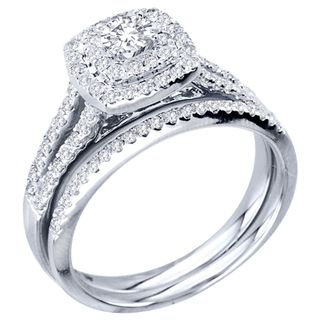 de couer 10k white gold 34ct tdw diamond double halo bridal ring set - Halo Wedding Ring Set