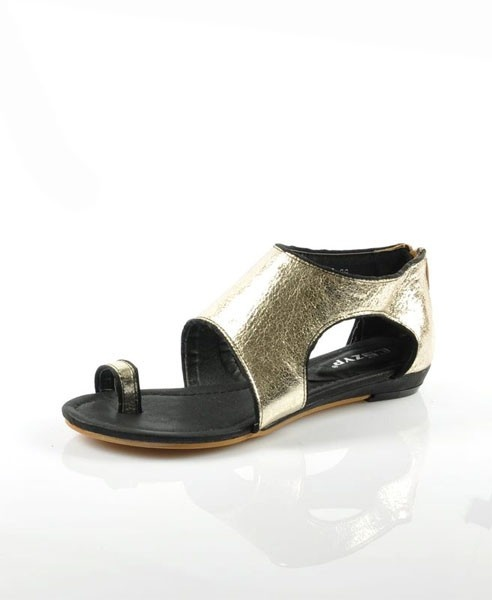 Metallic Leather Zip Back Rome Flat Sandals