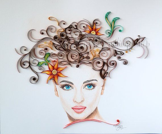 Original quilling art and drawing art queen of beauty for Deco quilling