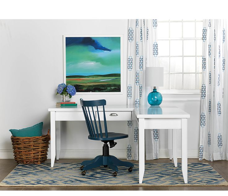 Newport desk and return in white contrasted by the southport chair and countryside artwork