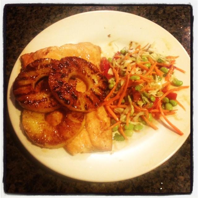Teriyaki salmon, grilled pineapple and Asian slaw w peanut-cilantro ...