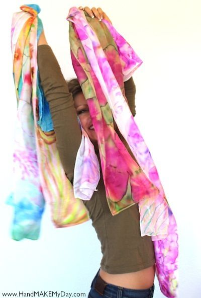 Sharpie Marker Scarves -- draw on a silk scarf with Sharpie (or Dollar Store versions), then spray on alcohol for a watercolor effect.
