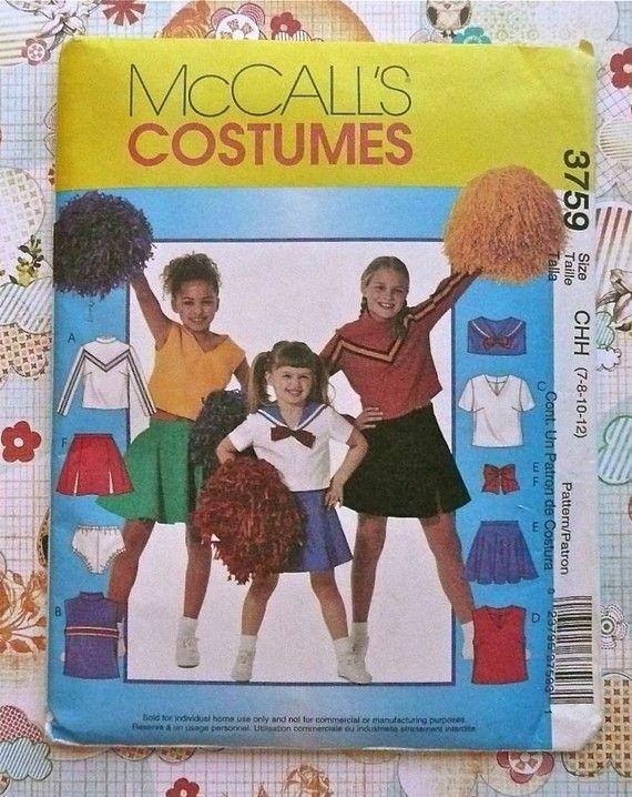 McCalls 3759  Girls Cheerleader Costume Pattern by Fragolina, $4.00