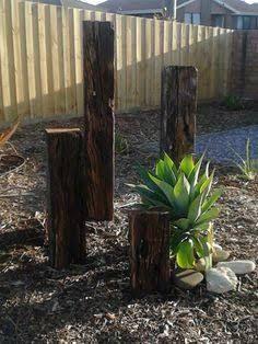 Image result for railways sleepers garden posts