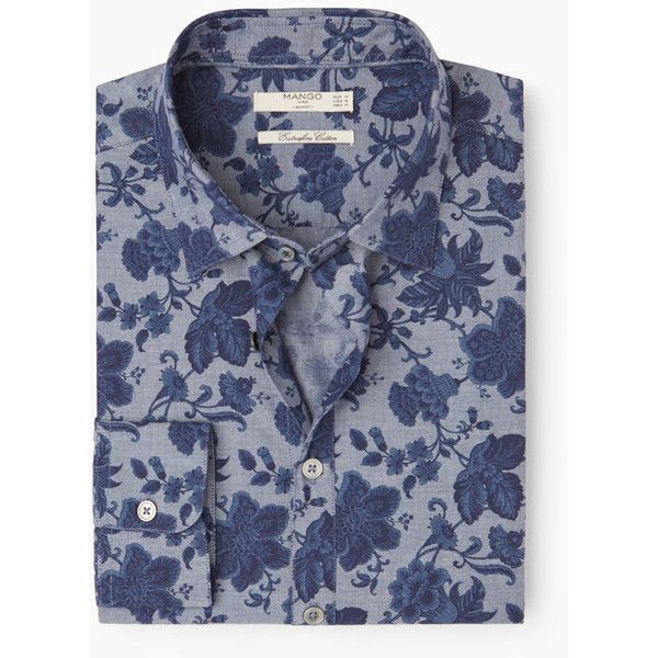MANGO MAN MANGO MAN Slim-Fit Floral Print Shirt (€54) ❤ liked on Polyvore featuring men's fashion, men's clothing, men's shirts, men's casual shirts and navy