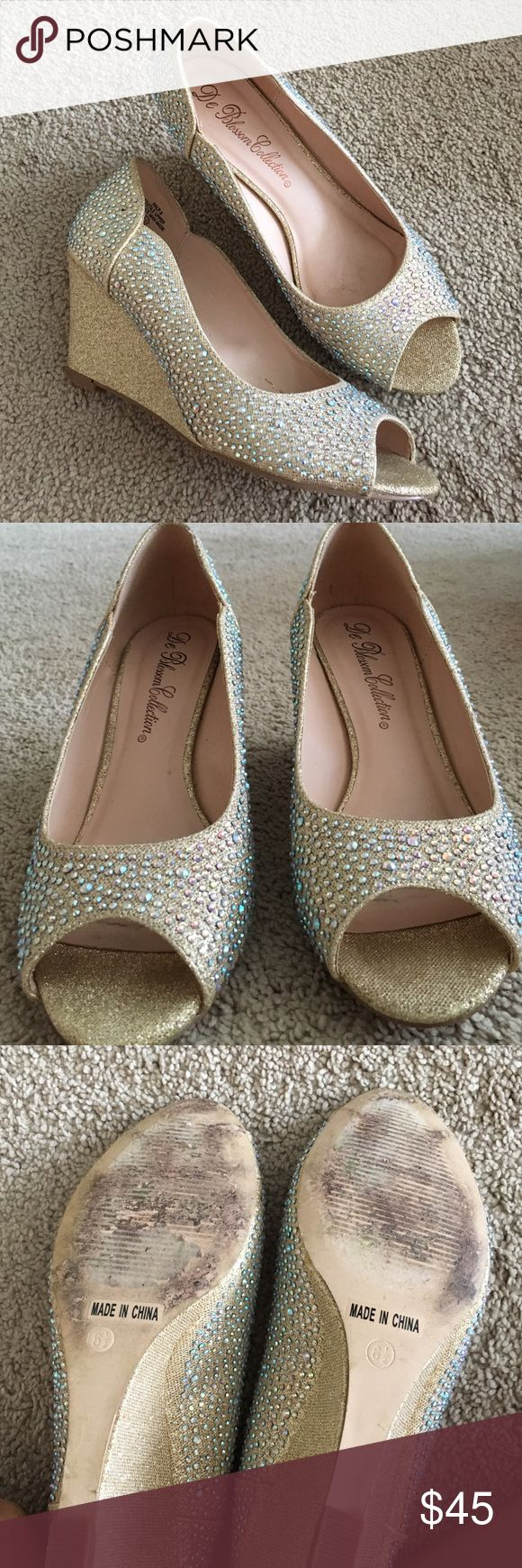 Gold sparkly wedge heels DSW Shoes - Size 6.5 gold sparkly wedge heels, only worn once for a few hours. Still in great condition. Comes with original box DSW Shoes Heels