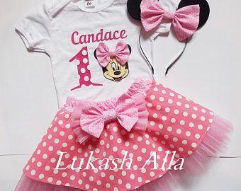 Traje de cumpleaños de Minnie Mouse, vestido de cumpleaños, vestido de Minnie Mouse, tutu de Minnie Mouse, fiesta de Minnie Mouse, ratón de minnie rosa