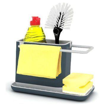 joseph joseph sink caddy kitchen soap and sponge holder dark grey and grey