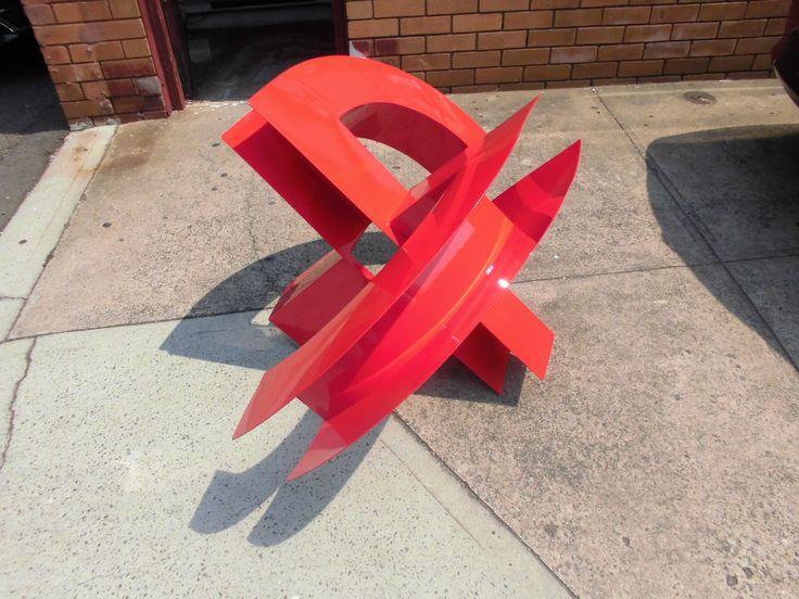 """""""Crossbow"""" Painted Aluminium sculpture. 90x120x80cms.  Maurice Schlesinger, sculptor"""