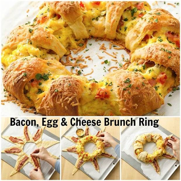 How to DIY Bacon Egg and Cheese Brunch Ring #DIY #food #recipe