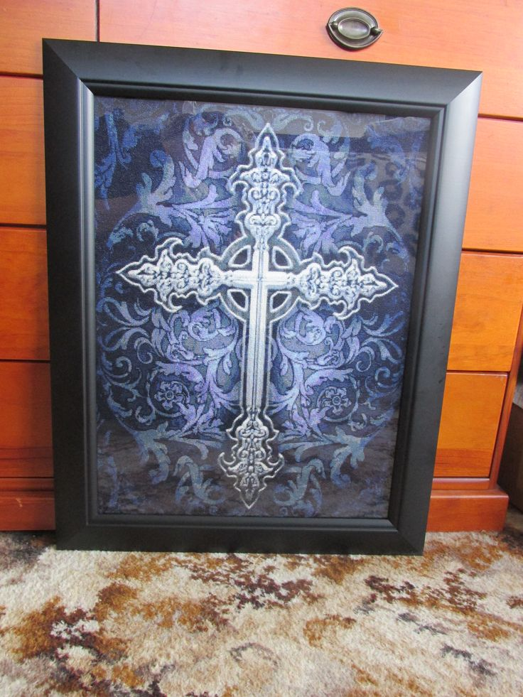 Gothic Cross framed - Heaven and Earth Design.  10 months of hard stitching to get this one done