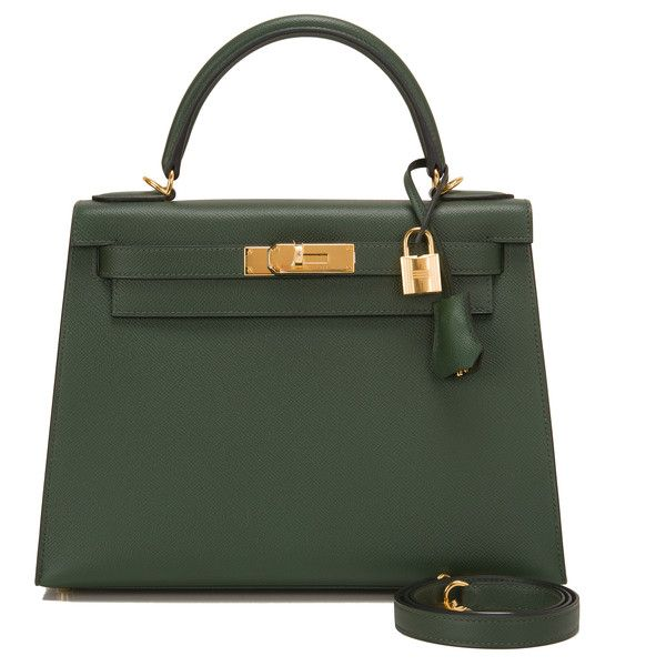 Pre-Owned Hermes Vert Anglais Epsom Sellier Kelly 28cm ($21,450) ❤ liked on Polyvore featuring bags, handbags, purses, green, leather purse, real leather handbags, hand bags, green leather purse and hermes handbags