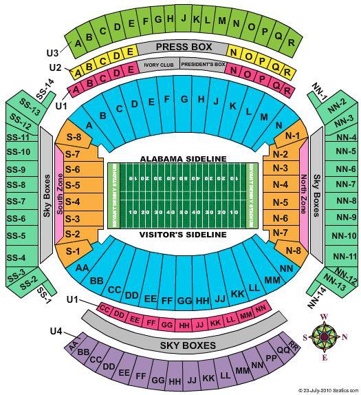 Bryant Denny stadium seating chart