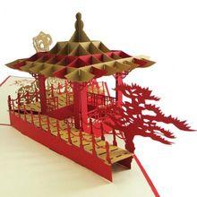 (10 stuk/partij) 2016 Nieuwe Collectie 3D Suzhou Pavilion Pop Up Kaarten Verjaardag Liefde Wenskaart Handgemaakte Papier Art Carving grote Gift(China (Mainland))