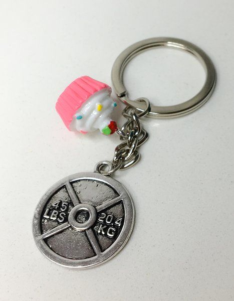 12.99$ Cupcakes & Weights (Dumbbell, Barbell or WP) Lifting Keychain