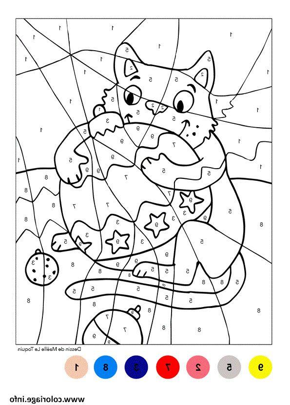 Coloriage Magique Chat Boule De Noel Dessin Coloriage Magique Coloriage Coloriage A Imprimer