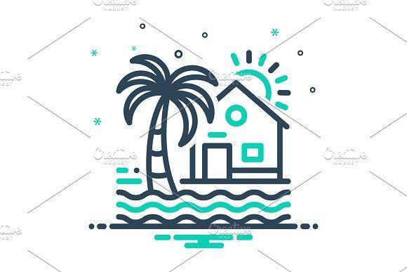 Beach House Icon Home Icon Beach Icon House Logo Design