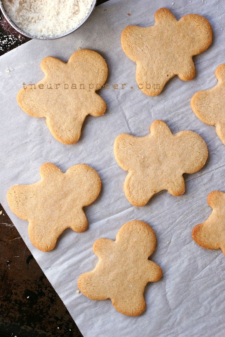 """Almond Flour Cut Out """"Sugar""""Cookies (Diary/Egg/Grain Free, Paleo)      2 cups fine ground blanched almond flour ,  Scant less than 1/4 teaspoon sea salt,  1/4 teaspoon baking soda,  3 tablespoons coconut oil or ghee if it is tolerable,   1/4 cup honey (or  agave/coconut sugar),  1-2 tablespoons thick applesauce,   1  tablespoon gluten free vanilla extract"""
