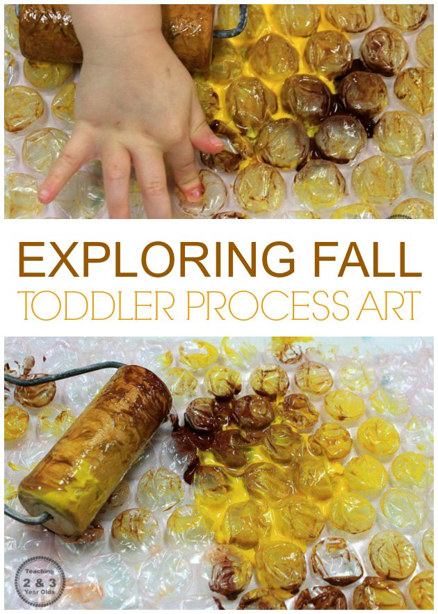 Add some process art to your toddler fall theme! This art activity involves lots of hands-on exploration as they roll different colors of paint over bubble wrap and then make prints. - Teaching 2 and 3 Year Olds