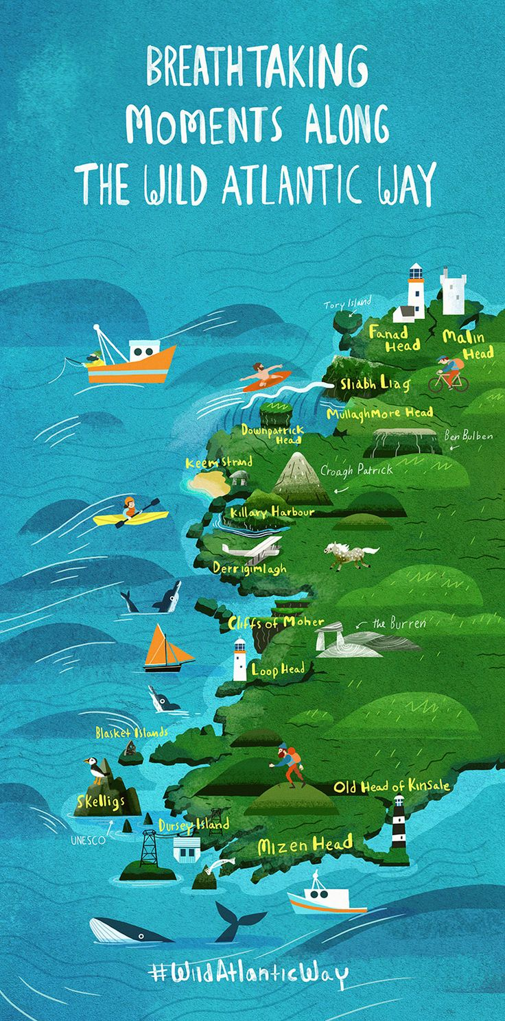 Breathtaking views along the Wild Atlantic Way in Ireland. Online guidebook. Nice illustrated map.