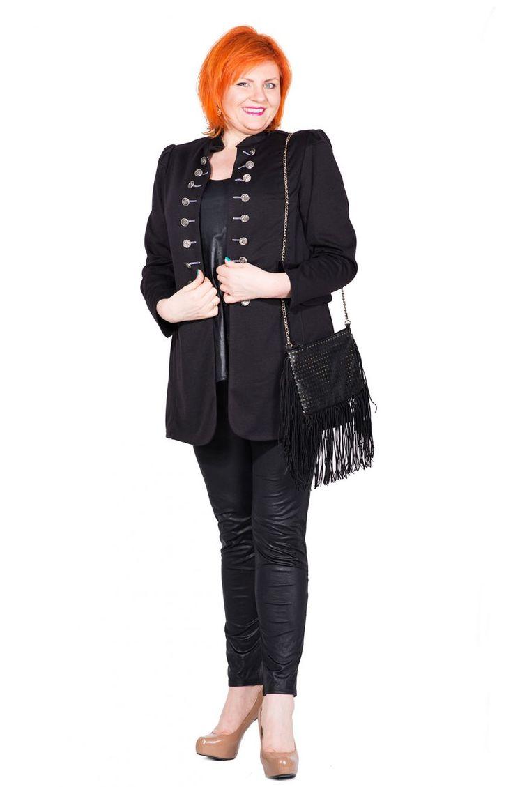 Modne skórkowe czarne legginsy - Modne Duże Rozmiary