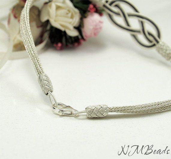 OOAK Infinity Bracelet Celtic Love Knot Bangle Fine Silver
