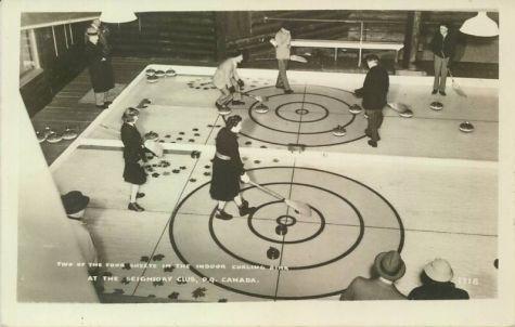 women curling in the 40's @ Seigniory Club in Montebello Quebec.. Le Chateau Montebello..