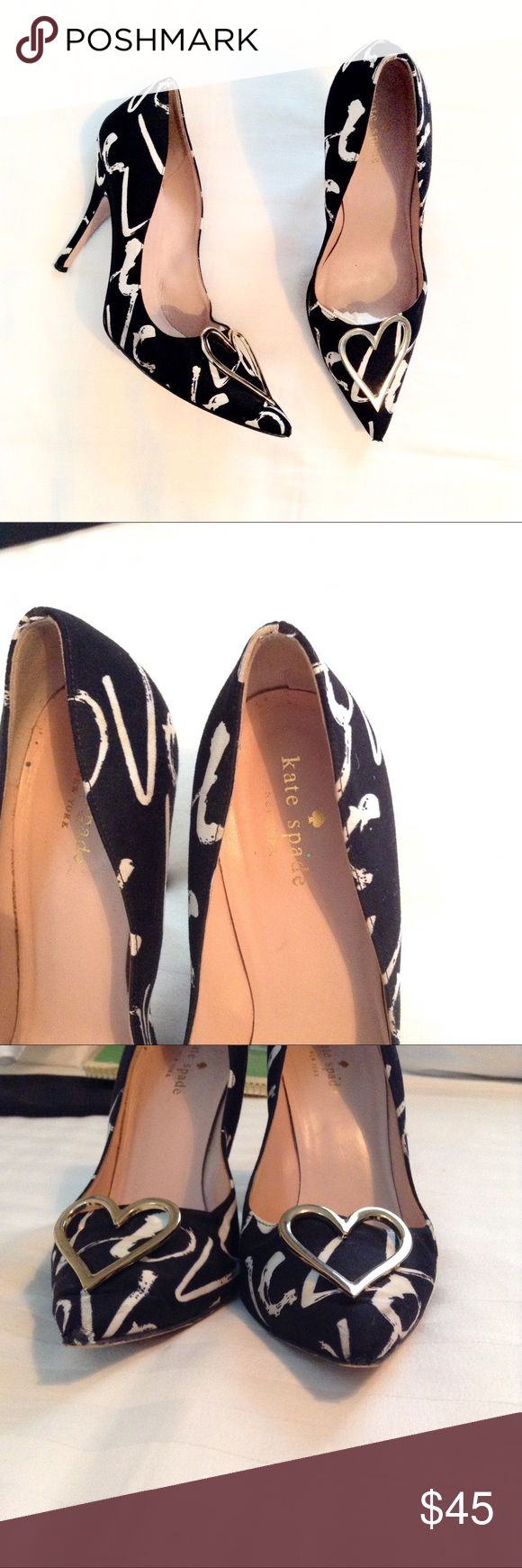 Kate Spade Graffiti Heart Pumps Good condition. The tips, heels , and soles are worn. Heel is 4 inches tall. Pointed toe design, with skinny pencil heel. Questions and offers are welcome 😊 kate spade Shoes Heels