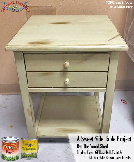 End Table In Basil Green Milk Paint And Van Dyke Brown Glaze Effects