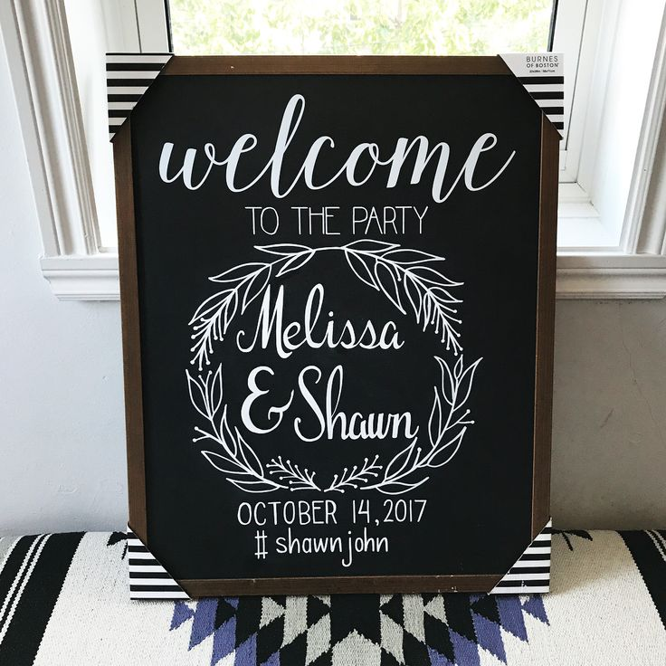 From Instagram @kjm.lettering: Welcome to the party!  Chalkboard welcome sign for a wedding, using white chalk marker. Some hand lettering and a pretty wreath make for a cute welcome sign!