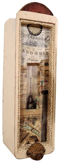 "Paris,  2014 Paper, wax and oil, objects in found box 16"" x 5"" x 4"""