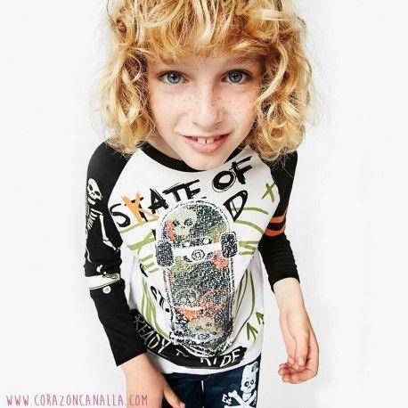 Camiseta niño Desigual lentejuelas reversibles skate