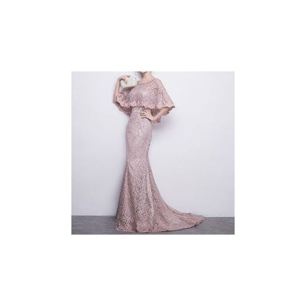 Lace Elbow Sleeve Evening Gown with Train (£79) ❤ liked on Polyvore featuring dresses, gowns, women, elbow length dress, lace ball gown, lace gown, elbow length sleeve dress and lacy dress