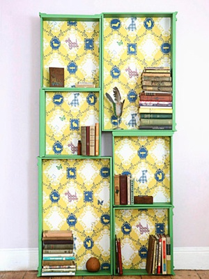 diy bookcase from old dressed drawers