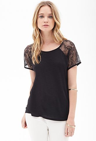 Lace Paneled Knit Tee | Forever21 - 2055879276