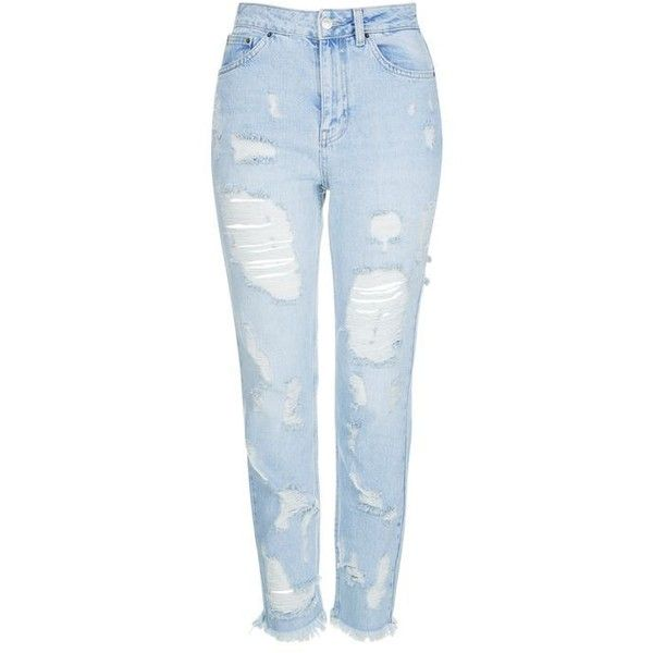 TopShop Moto Extreme Ripped Bleach Mom Jeans (340 RON) ❤ liked on Polyvore featuring jeans, pants, bottoms, topshop, high waisted destroyed jeans, high-waisted jeans, ripped jeans, bleached ripped jeans and bleached jeans