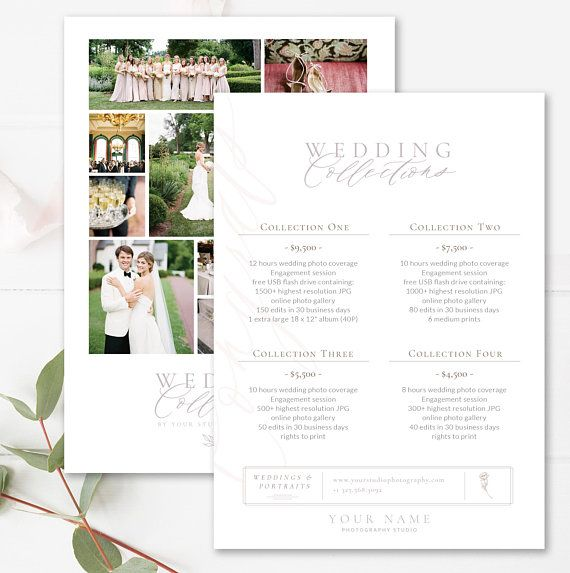Pricing Guide For Wedding Photographers Photoshop Template Etsy Photographer Templates Photography Pricing Wedding Photographer Pricing Guide