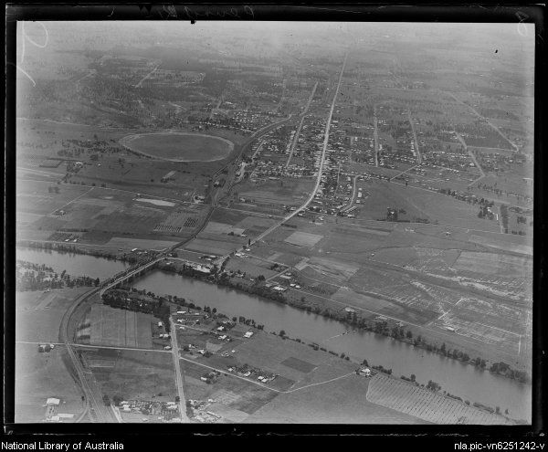 Aerial view of Penrith and the Nepean river,in western Sydney,ca. 1930.Photo from National Library of Australia.A♥W