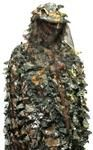 The two piece 3D Camouflage Ghillie Suit with Veil Hood - LEAF CAMO is available at an affordable price and as a value option for paintball, costumes or Halloween