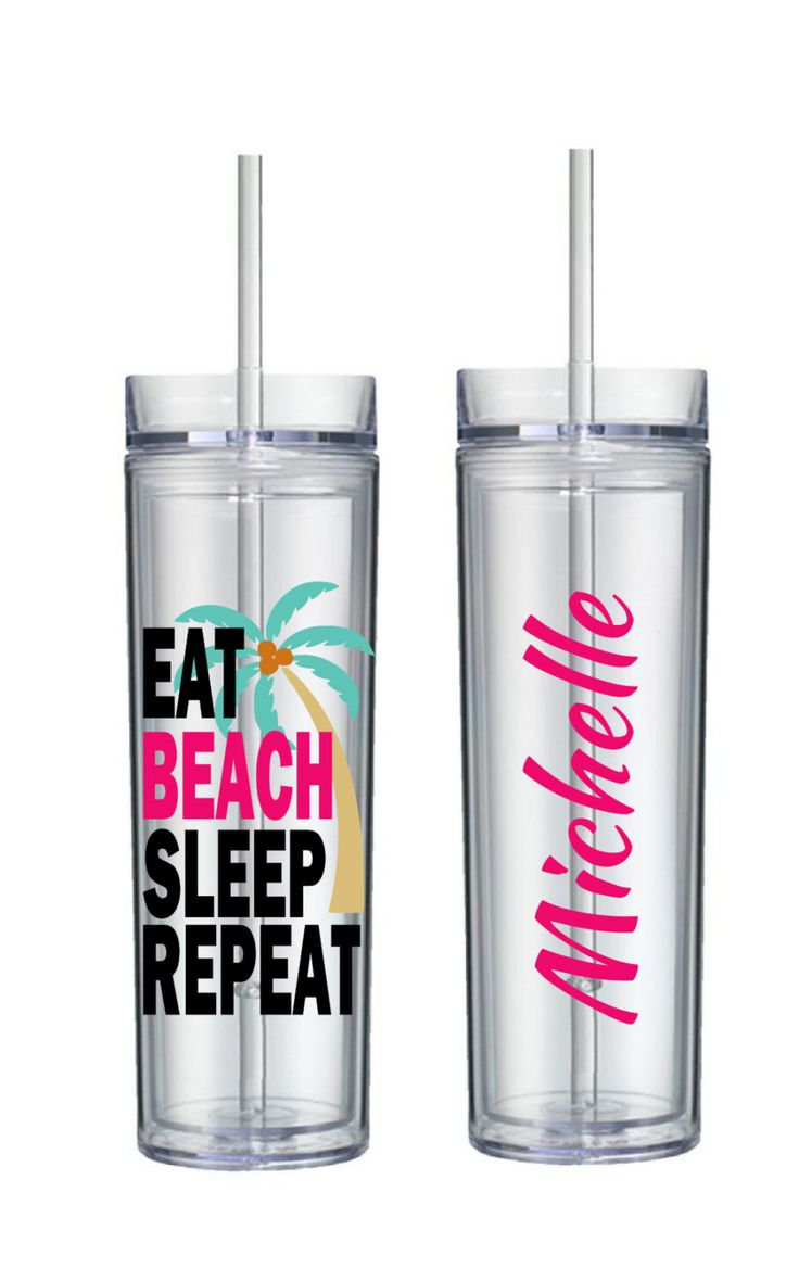 EAT BEACH SLEEP Repeat Skinny Tumbler, Vacation Tumbler, Bachelorette Party, Bridesmaid, Maid of Honor, Beach Vacation by BeDazzledByMichelle on Etsy