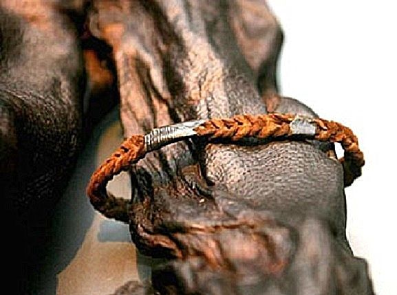 The armband of Old Croghan Man, found in a bog in Ireland, dated between 362 BCE and 175 BCE. Now in the National Museum of Ireland, Dublin.