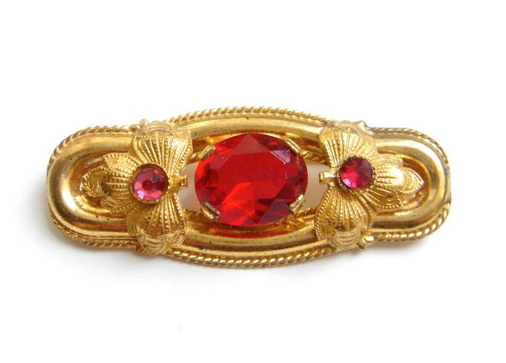 Vintage Antique Czech Glass Brooch Pin Gold Tone RED Art Deco Cabochon