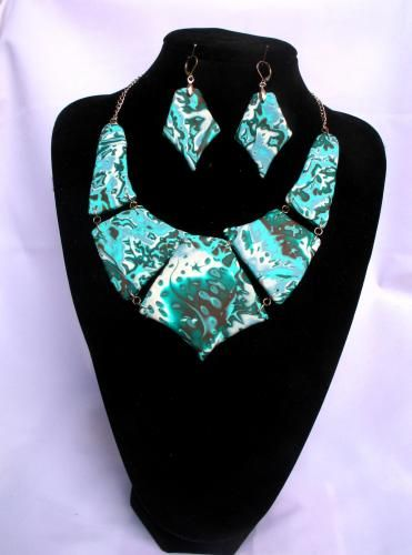 """SET """"Picasso"""" - a necklace and earrings. handmade. material thermoplastic. necklace length 52 cm. height of the central section 8 cm. Length of earrings with shvenzy - 8 cm."""